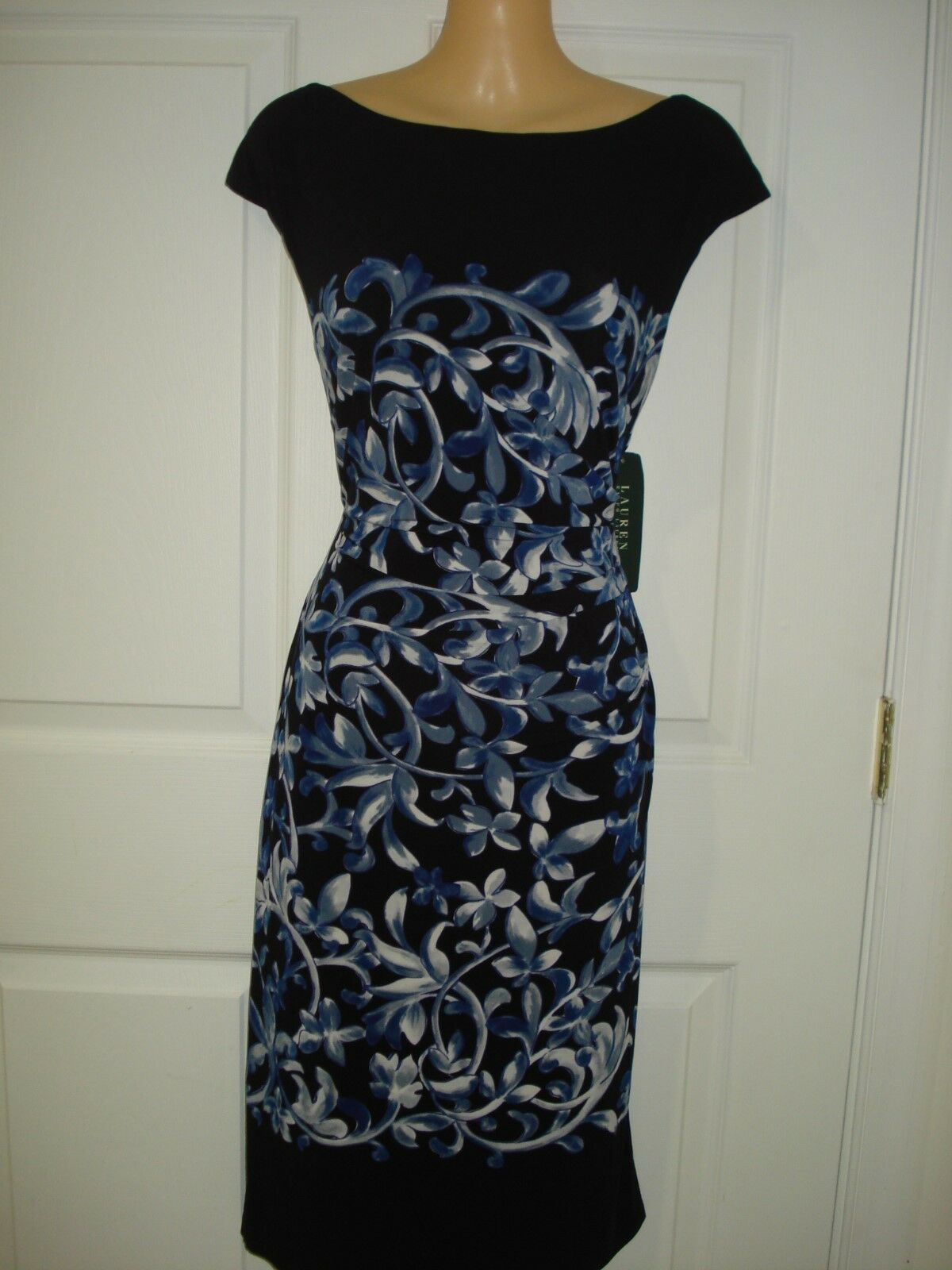 Lauren Ralph Lauren Wear to Work Cap Sleeve Floral Floral Floral Print Sheath Dress Sz 4 6669fd