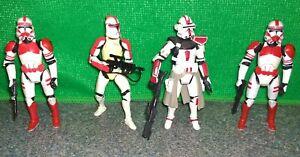 Star-Wars-Clone-Commander-Deviss-Shock-Trooper-Red-Clone-Captain-Lot-USED