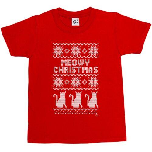 Cat T-Shirt 1Tee Kids Boys Meowy Christmas