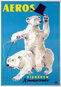 Vintage German Aeros Circus Performing Polar Bears Poster A3 Print