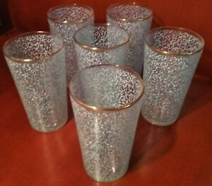 Vintage-Set-of-6-1950s-Blue-Speckled-Tumblers-w-Gold-Rim-2-75-034-Wide-x-5-034-Tall