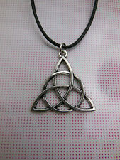 A Wax Cord Tibetan Silver  Power Of Three Triquetra Celtic Knot Charm Necklace