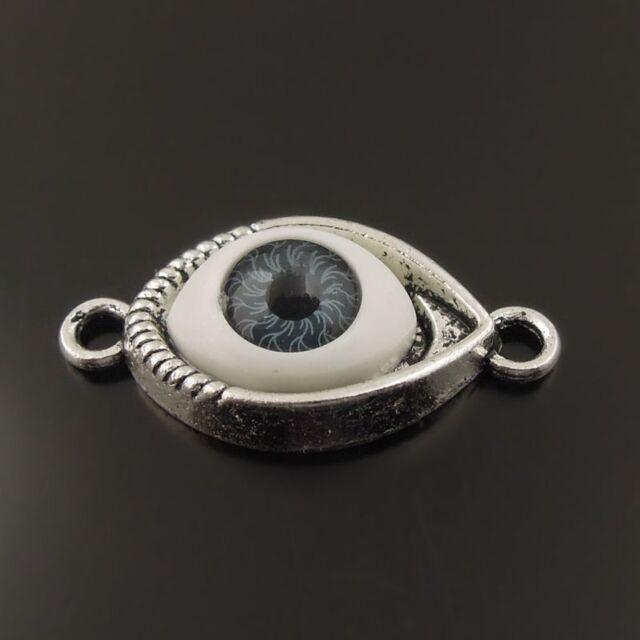 25PCS Multi Color Antiqued Style Evil Eye Alloy Charms Connector Pendant 30x15mm