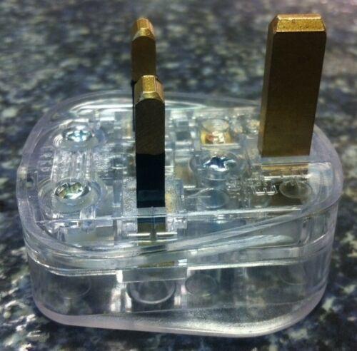 pas de couleur clair transparent voir à travers Nouveauté 13a uk 3 pin mains plug plat