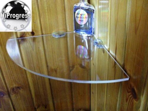 Bathroom Shower Wall Corner Clear Acrylic Plexi-glass Floating Shelf Brackets