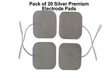 Premium Silver Tens Electrode Pads Pack of 20 TENS Quality Electrodes 5 x 5cm