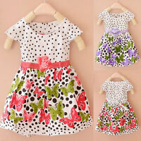 NEW Baby Girls Kids Summer Bow-Knot Party Dress Flowers Butterfly Cotton Skirt