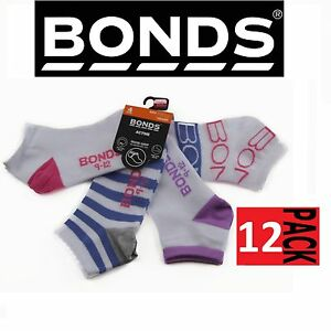 12-PAIR-BONDS-KIDS-ACTIVE-INVISI-GRIP-SOCKS-White-Pink-Girls-Low-Cut-5-8-years