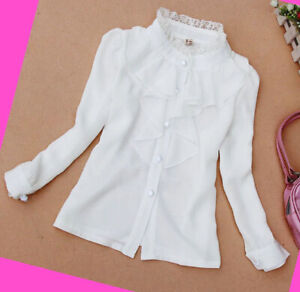 Girls-Shirt-White-off-Top-Ruffled-School-Autumn-Long-sleeve-Blouse-Age-2-14-year