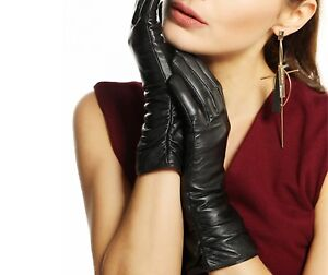 Women-Leather-Gloves-Genuine-Black-Red-Beige-Female-Fashion-Evening-Party-Gloves