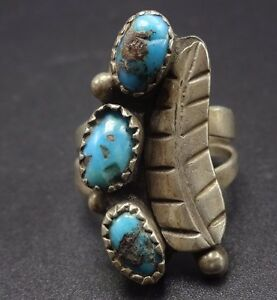 Size 7.75 Turquoise Nugget Ring Sterling silver and turquoise.