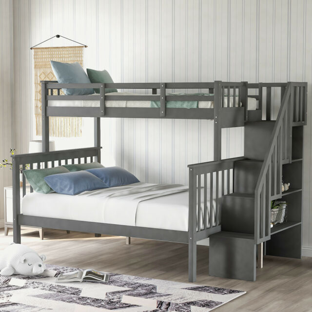 Kids Bunk Beds With Drawer Stair Storage Bed Twin Over Full Wooden Bedroom Set For Sale Online Ebay