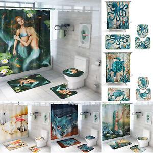 Sea-Animal-Ocean-Non-Slip-Toilet-Rug-Mat-Toilet-Cover-Bath-Shower-Curtain-Covers