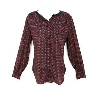 Ann-Taylor-Shirt-Top-Button-Up-Womens-Size-L-Brown-Black-Arabesque-Long-Sleeve