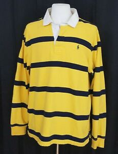Details about Polo Ralph Lauren Rugby Men's XL Sweater Striped Shirt Yellow Long Sleeve