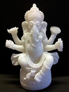 ganesha ganesh buddha figur weiss stein alabaster sitzend lotus neu 12 cm ebay. Black Bedroom Furniture Sets. Home Design Ideas