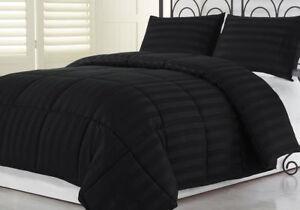 Royal Down Alternative Comforter 200 GSM Egyptian Cotton Wine Striped US Sizes