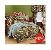 Deer Hunting Cabin Full Comforter Set (8 Piece Bed In A Bag) NEW!