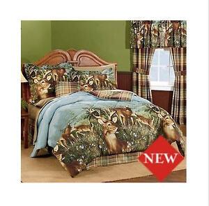Deer Hunting Cabin Queen Comforter Set 8 Piece Bed In A