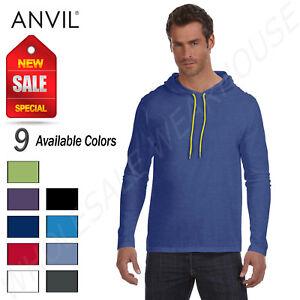1aa28ddd Details about Anvil 100% Cotton Lightweight Long Sleeve Hooded T-Shirt  M-987AN