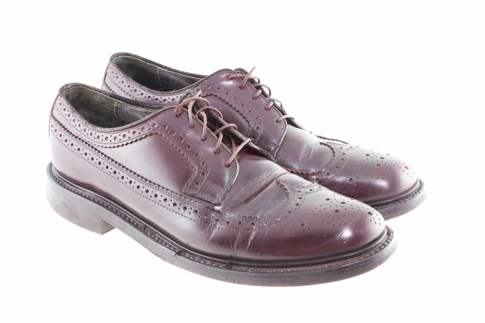 SEARS CORDOVAN LEATHER WINGTIP OXFORDS Uomo SIZE 10 D   STYLE KF 3