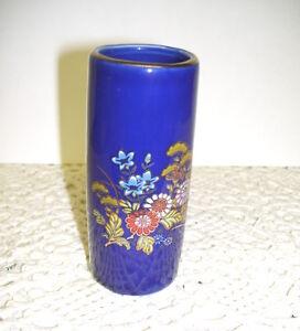 Cobalt Blue Vase with Cloisonne Floral Design Marked Japan