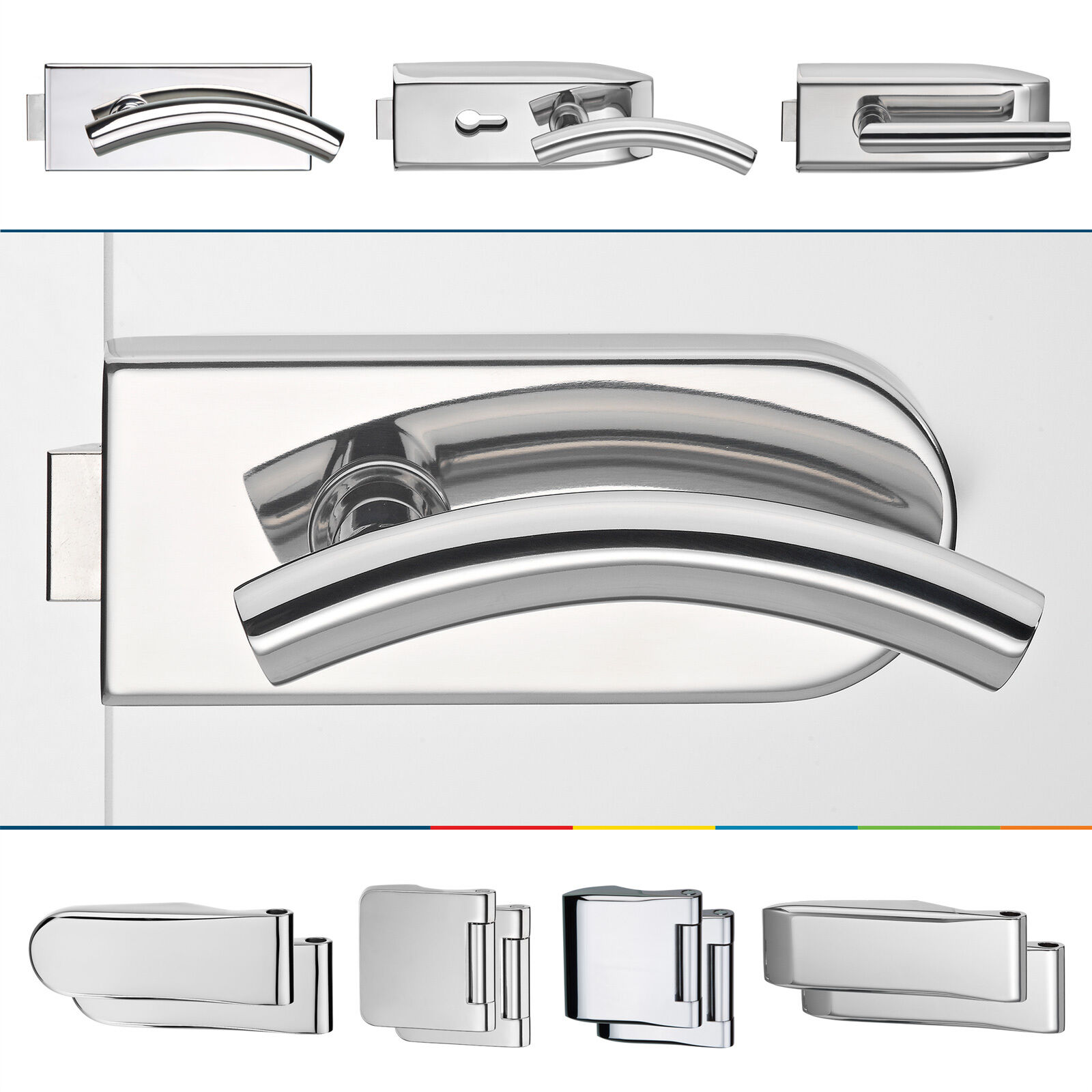 Glastürbeschlagset IV Auswahl aus 20 Varianten in Edelstahl poliert | Qualität und Verbraucher an erster Stelle  | Marke  | Verschiedene Waren  | Günstige Preise