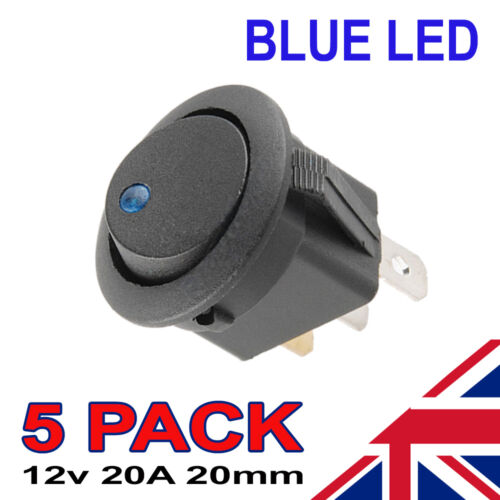 5 X LED Bleu Marche Off Noir Interrupteur à Bascule Rond Voiture Automobile