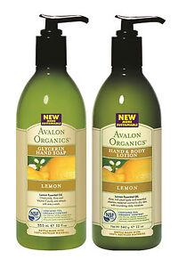 AVALON-ORGANICS-Citron-glycerine-main-SAVON-amp-main-lotion-corporelle-paquet