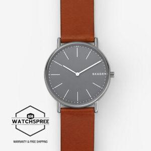 Skagen-Men-039-s-Signatur-Slim-Titanium-and-Cognac-Leather-Watch-SKW6429