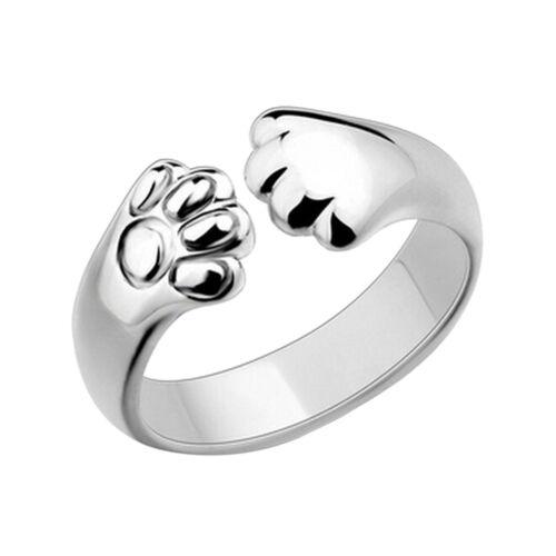 Nette Frauen Katze Paw Claw Offener Ring Versilbert Fingerring Tier Schmuck Y  X
