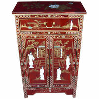 Mother Of Pearl Oriental Furniture - Red Lacquer Cabinet With Drawer