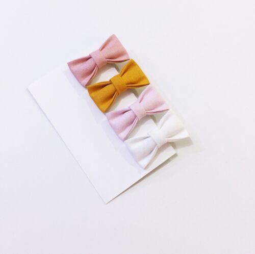 4x Mini Cutestbows Baby Girl Hair Clip  Toddler Fabric Hair Bow