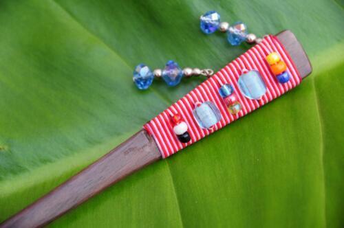 FUNKY wooden HAIR STICK PICK PIN cute beads Dingle Dangle Sono wood handmade new