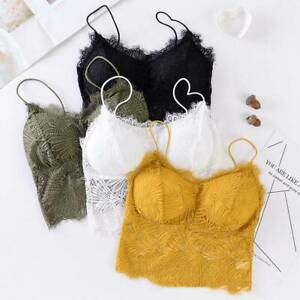 Womens-Strappy-Lace-Bralette-Bra-Bustier-Crop-Padded-Tops-Cami-Vest-Tank-2020