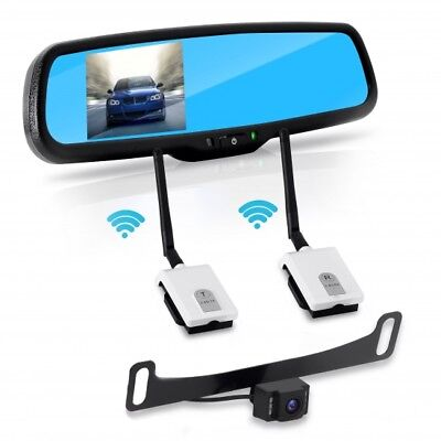 "Pyle PLCM4565 Mounts on License Plate Rear View Backup Camera System Distance Scale Lines Parking Reverse Car Vehicle Rearview Back Up w// 4.3/"" LCD Mirror Monitor Kit Tilt Adjustable Cam Angle"