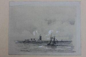 Segelschiff bleistiftzeichnung  Segelschiff vor Hafenanlage, signierte Bleistiftzeichnung, 19 ...
