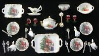 Dollhouse Miniature Santa Claus Dishes Set 27 Pcs Reutter Porcelain Minis 1:12