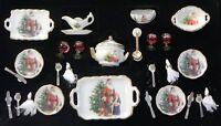 Dollhouse Miniature Santa Claus Dishes Set 27 Pcs Reutter Porcelain Minis 1:12