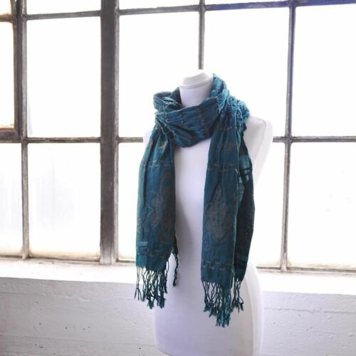 Ladies Embroidered Flower Scarf Elastic Fabric Winter Long Warm Scarves