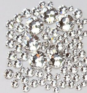 SS3-SS20-Crystal-Clear-Flatback-Rhinestone-Non-Hotfix-Nail-Art-Decoration-DIY