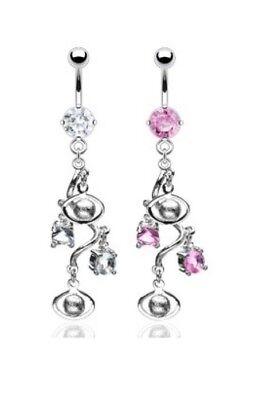 Elegant CZ Gem Swirl Vine Dangle Belly Navel Ring Body Piercing Jewelry