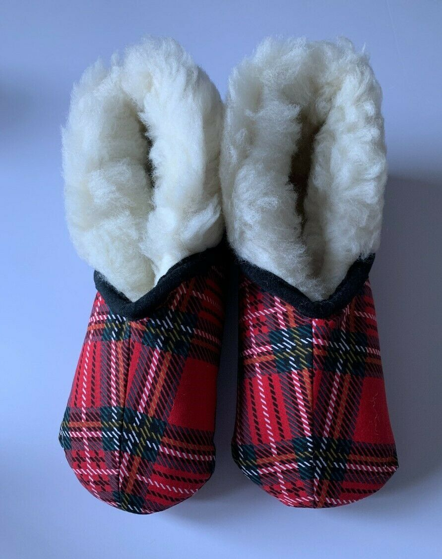 Bed Bootees Made with Pure New Wool and Royal Stewart Fabric - Size 9/10 UK