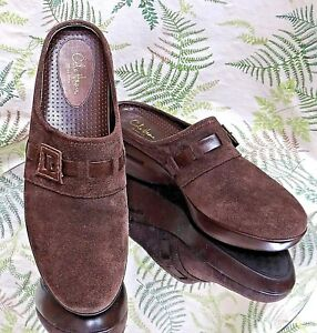 COLE-HAAN-BROWN-SUEDE-LEATHER-SLIDES-SLIP-ONS-MULES-HEELS-SHOES-WOMENS-SZ-8-5-B
