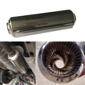 Universal-Edelstahl-63mm-Auto-Auspuff-Zwischenrohr-Schalldaempfer-Tuning-Rohr-1x
