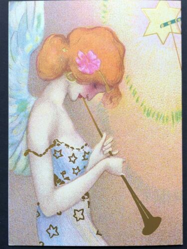 Blank Art Note Card ANGELS heavenly music NOS Pleiades Press #147 gold detail