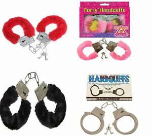 FURRY-FLUFFY-PINK-BLACK-RED-METAL-HANDCUFFS-FANCY-DRESS-HEN-NIGHT-STAG-PLAY-TOYS