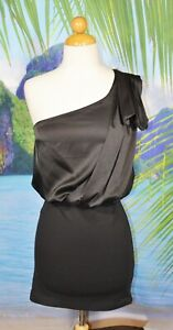 A|X ARMANI EXCHANGE Black One Shouldered Dress 0 Front Drape Unlined Cocktail