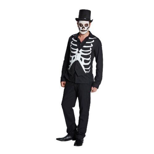 Rub Weste Skelett zum Herren Kostüm an Halloween Leuchtdruck