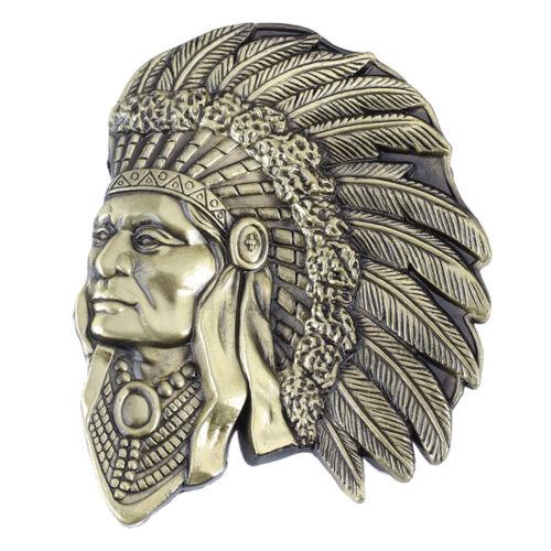 IW-09-G Indian Warrior Men/'s Belt Buckle Western Cowboy Native American